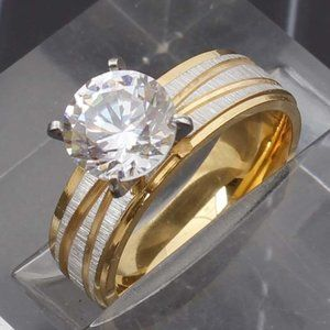 Gold Plated Diamond Engagement Ring Size 9